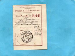 MARCOPHILIE+ Déclaration De Versement N°144--POSTES ET TELEGRAPHES 225FRS Cad AUTHON  Dec 1909 - Marcophilie (Lettres)