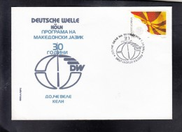 REPUBLIC OF MACEDONIA, SPECIAL COVER, 30 YEARS DEUTSCHE WELLE ON MACEDONIAN LANGUAGE, GERMANY ** - Télécom