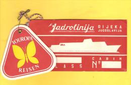 Old Travel Ticket - Yugoslavia, Jadrolinija, Ship Line - Europa