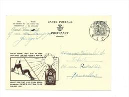 Publibel Obl. N° 1282 ( Huile Ultra Nivéa  Soleil = Danger !!!) Obl: Grivegnée 1954 - Postwaardestukken