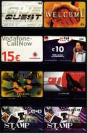 8 Verschiedene Prepaid Card Telefonkarten  -  2 X Stamp  -  Global Tel  -  Vodafone  -  Quest  -  Solo  (13) - Telefonkarten