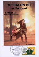 """CP : 16e Salon De La BD Bassillac (Périgueux RP, 24-Dordogne-Périgord) Du 22-10-2005 (Timbres """"Le Chat"""") - Commemorative Postmarks"""