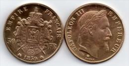 50 FRANCS OR *Napoléon III* 1859  : Téte Laurée MAGNIFIQUE REFRAPPE Pl. OR ( Dorée ) - France