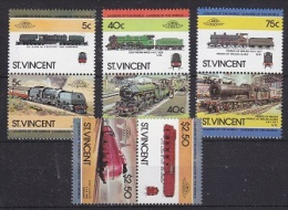 St. Vincent 1984 Trains / Leaders Of The World 4x2v (pairs) ** Mnh (20579) - St.Vincent (1979-...)