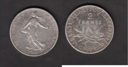 2 Francs Semeuse de 1905 - Bon �tat