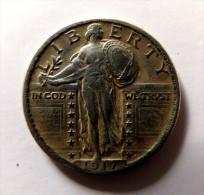 QUARTER  DOLLAR LIBERTY  1917  ARGENT SILVER QUALITE - Emissioni Federali