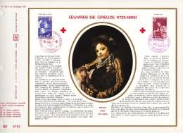 1700-1701 (Yvert) Sur Feuillet N° 186 A Du Catalogue CEF -  Émission Croix-Rouge 1971 Oeuvres De Greuze - FDC