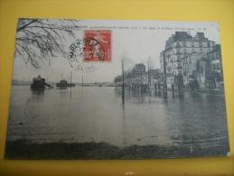 94 190 - CPA -CHARENTON - INONDATIONS DE JANVIER 1910 - LE QUAI ET LA PLACE DES CARRIERES (SCANS RECTO VERSO) - Charenton Le Pont
