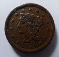 ONE CENT 1851 QUALITE - 1840-1857: Braided Hair (Capelli Intrecciati)