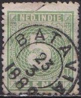 Ned. Indië: 1883-1890 Cijfer 5 Cent Geelgroen Kamtanding 12½ : 12 Kl. G. NVPH 21 C (2e Keus) - Niederländisch-Indien