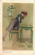6 Postcards Illustrator  Signed  Bompard   Serie 7907 Jeux De Cartes, Mode Fashion Woman Storia Amore Amour : Il M'aime - Bompard, S.