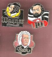 43398-lot De 3 Pin's-.Musique.wagner.Verdi.Bach.classique.signé A.B Paris. - Musik