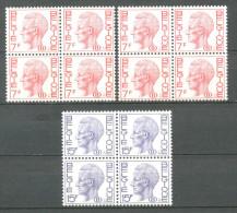 1971 BELGIUM ON SERVICE 3x BLOCK OF 4 MICHEL: D66-67 MNH ** - Service