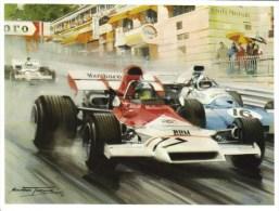 Monaco Grand Prix 1972  -  Jean-Pierre Beltoise (BRM) - Chris Amon (Matra) - Artwork By Michael Turner  -  Carte Postale - Grand Prix / F1