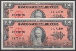 1959-BK-5 CUBA 1959 BANCO NACIONAL DE CUBA 100$ FRANCISCO VICENTE AGUILERA UNC. DOS CONSECUTIVOS. SERIE C. - Cuba