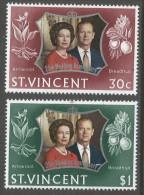 St Vincent. 1972 Royal Silver Wedding. MNH Complete Set. SG 352-353 - St.Vincent (...-1979)