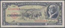 1960-BK-27 CUBA 1960 BANCO NACIONAL DE CUBA 5$ MAXIMO GOMEZ . UNC. ERNESTO CHE GUEVARA. SERIE N.