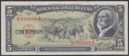 1960-BK-28 CUBA 1960 BANCO NACIONAL DE CUBA 5$ MAXIMO GOMEZ . UNC. ERNESTO CHE GUEVARA. SERIE R.