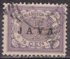 Ned. Indië: 1908 Cijferserie ½  Ct  Lila Overdrukt Met JAVA  NVPH 63 Met Beschadigde J - Indes Néerlandaises