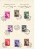 BELGIQUE 1937 FEUILLET SOUVENIR - REINE ASTRID COB 447-454 FDC - FDC