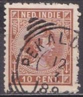 Ned. Indië: PEKALONGANG Op 1892-97 Prinses Wilhelmina 10 Cent Roodbruin NVPH 23 - Indes Néerlandaises