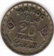 MAROC - Marokko,20 Francs Bronze Aluminium Empire Chérifien 1952, 1371 Egire - Marokko