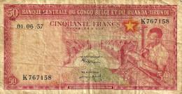 BELGIUM CONGO 50 FRANCS RED MAN FRONT MAN BACK DATED 01-06-1957 P32 AF READ DESCRIPTION - Belgian Congo Bank