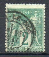 FRANCE - 1876-78 - Type Sage (Type I - N Sous B) - N° 62 - 2 C. Vert - (Oblitération : Cachet à Date) - 1876-1878 Sage (Type I)