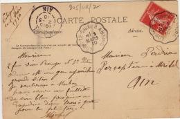 AIN - Lons Le Saunier à Bourg - Carte Postale- Obliteration Ferroviaire -Type II-1910 - Marcophilie (Lettres)