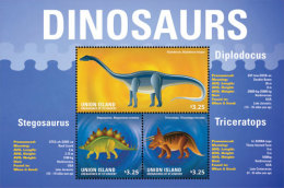 UNION IS. OF S.V  IGPC # 1423 SH ; MINT N H STAMPS OF DINOSAURS - St.Vincent & Grenadines