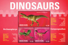 UNION IS. OF S.V  IGPC # 1422 SH ; MINT N H STAMPS OF DINOSAURS - St.Vincent & Grenadines