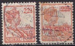 Ned. Indië: 2 X MEESTER CORNELIS Op Koningin Wilhelmina Met En Zonder Opdruk NVPH 123 - 143 - Indes Néerlandaises