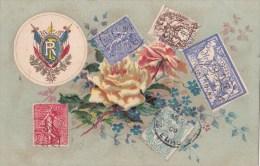 Carte Avec Timbres Poste/fleurs/ Réf:C2860 - Timbres (représentations)