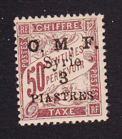 French Syr, Scott #J12, Mint Hinged, French Postage Due Surcharged, Issued 1921 - Timbres-taxe