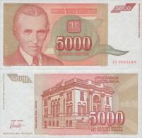 YUGOSLAVIA 5.000 DINARA 1993 , UNC , P-128 , ZA ( Replacement ) - Joegoslavië