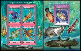 gu15121ab Guinea 2015 Fishes of the World 2 s/s
