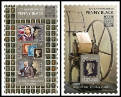 ca15113ab Central African 2015 London 2015 International Stamp Exhibition. Penny Black Stamp on Stamp 2 s/s