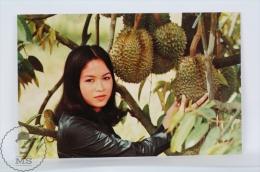 Thailand Postcard - Beautiful Thailand Brunette Girl Near Durian - Fruit - Tailandia