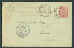Entier Postal Carte 10 Centimes Obl. Convoyeur VILLERUPT A LONGWY Du 20 Novembre 1905 Vers Le Danemark. - 10527 - Entiers Postaux
