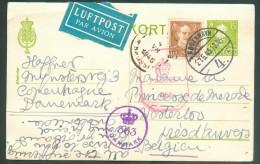 Entier Carte 15 öre + 25 öre Obl. Dc KOPENHAGUE Du 27-6-1945 Par Avion Vers La Princesse De Mérode à Westerloo + Double - Briefe U. Dokumente
