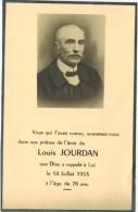 GENEALOGIE IMAGE PIEUSE Souvenir Mortuaire Faire Part Décès Avec Photo : Louis JOURDAN - A Localiser - Décès