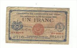 Chambre De Commerce De Lyon - Un Franc - 1921 - Chambre De Commerce