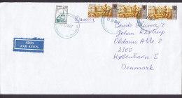 "Russia ""ABNA Par Avion"" Label 2006? Cover Brief To Denmark Zug Train & 3x Samson Brunnenskulptur Pedroworez Stamps - 1992-.... Fédération"