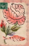 411Eb    Carte Gauffrée 2 Volets Paillettes Rose Et Poisson D'avril Texte à L'interieur Et Correspondance 2eme Volet - Dreh- Und Zugkarten