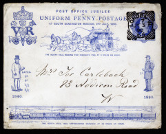 A3074) UK Jubilee Cover Mi.U11 Used From London 07/03/1890 With Card