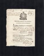 Vp1390 - Révolution PARIS  An 2 - Certificat De Non émigration De Mme Madeleine THOVE Femme De A.P LAMOUCHE - Manuskripte