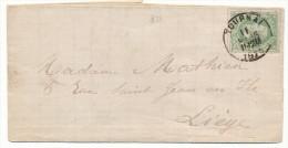 1870 BRIEF MET PZ 30 VAN TOURNAI(1-RING DU) NAAR LIEGE(VERSO 2-RING) ZIE SCAN(S) - 1869-1883 Léopold II