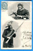 FR383, Deux Tireurs, Pistolet, Canon, Fusil, Munition, Précurseur , Fantaisie,  Circulée 1907 - Waffenschiessen