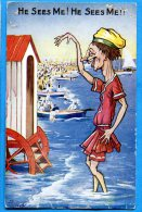 FR385, Comic Series No 5336, He Sees Me ! Mode, Cabine De Plage, Trou Punaise ,non Circulée - Humour