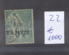 TAHITI COLONIE FRANCAISE YVERT NR. 22 OBLITERE SOLD AS IS AVEC SURCHARGE AVEC CHARNIERE
